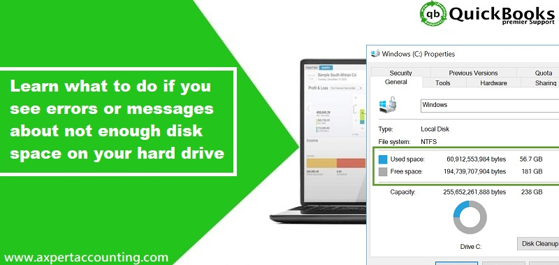 Methods to Clear up disk space for QuickBooks Desktop - Featuring Image